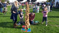 A very competitive game of jenga