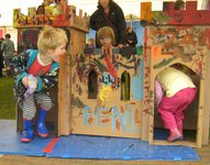 Having fun with the cardboard castle